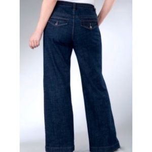 Lane Bryant Denim Trouser Wide Leg Dark Jeans 18